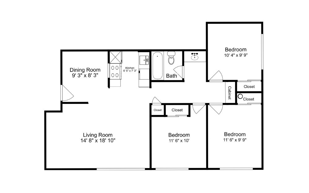 The Inlet - 3 bedroom floorplan layout with 1 bath and 905 square feet.