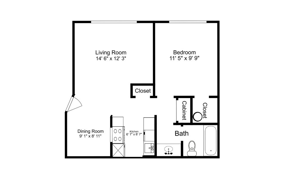 The Olympic - 1 bedroom floorplan layout with 1 bath and 510 square feet.