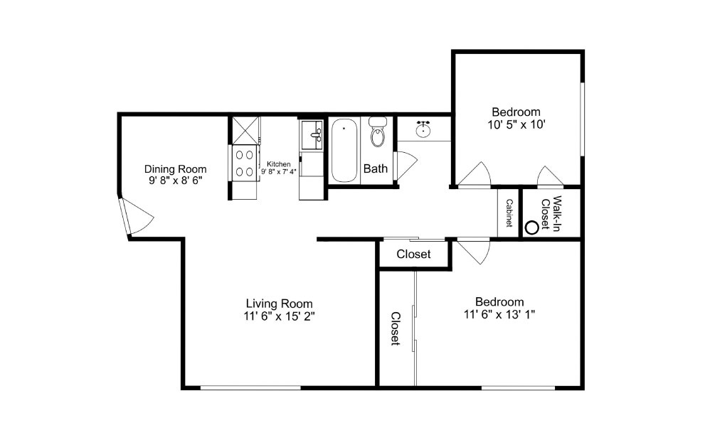The Peninsula - 2 bedroom floorplan layout with 1 bath and 824 square feet.