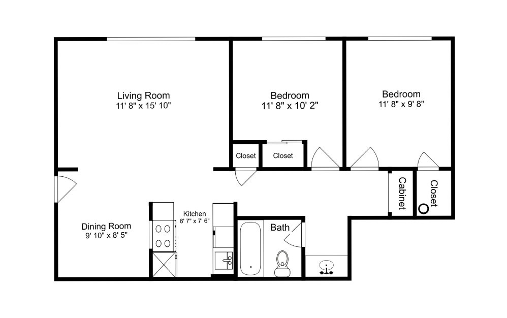 The Sound - 2 bedroom floorplan layout with 1 bath and 785 square feet.